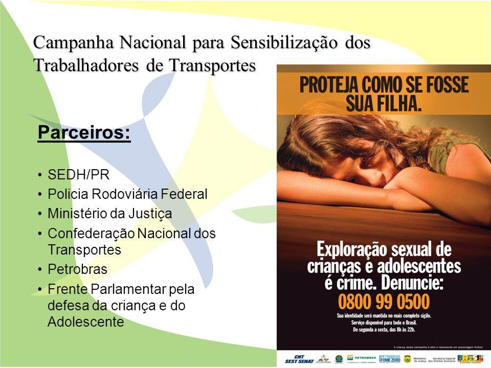 Parceiros: SEDH/PR Policia Rodoviária Federal Ministério da Justiça Confederação Nacional dos Transportes Petrobras Frente Parlamentar pela defesa da