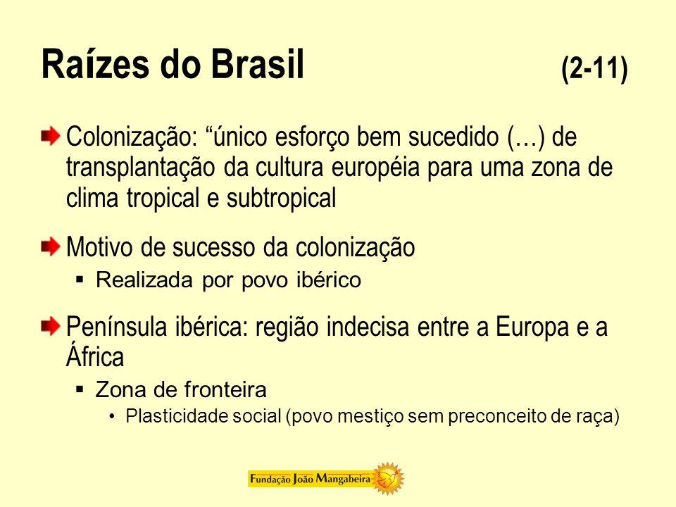 Ra í zes do Brasil (2-11) Colonização: único esforço bem sucedido (…) de transplantação da cultura européia para uma zona de clima tropical e subtropi