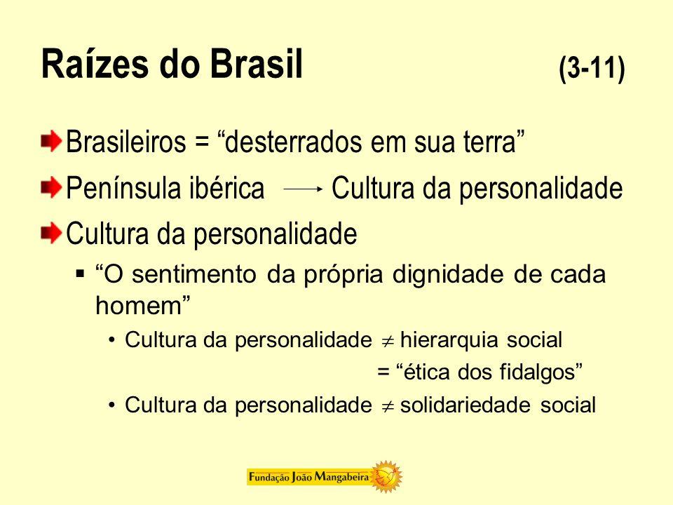 Ra í zes do Brasil (3-11) Brasileiros = desterrados em sua terra Península ibérica Cultura da personalidade Cultura da personalidade O sentimento da p