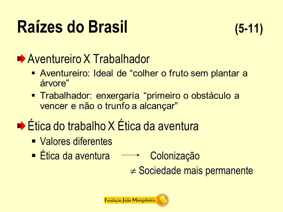 Ra í zes do Brasil (5-11) Aventureiro X Trabalhador Aventureiro: Ideal de colher o fruto sem plantar a árvore Trabalhador: enxergaria primeiro o obstá