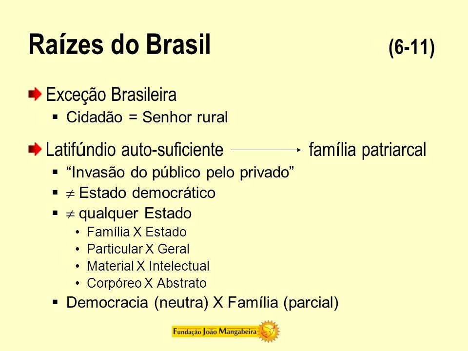 Ra í zes do Brasil (6-11) Exceção Brasileira Cidadão = Senhor rural Latif ú ndio auto-suficientefam í lia patriarcal Invasão do público pelo privado E