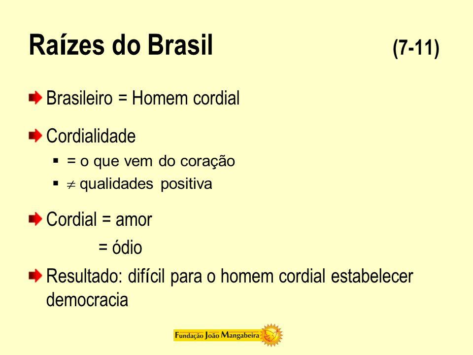 Ra í zes do Brasil (7-11) Brasileiro = Homem cordial Cordialidade = o que vem do coração qualidades positiva Cordial = amor = ódio Resultado: dif í ci