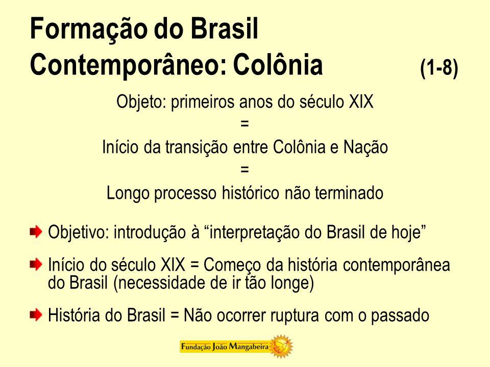 Formação do Brasil Contemporâneo: Colônia (1-8) Objeto: primeiros anos do século XIX = Início da transição entre Colônia e Nação = Longo processo hist