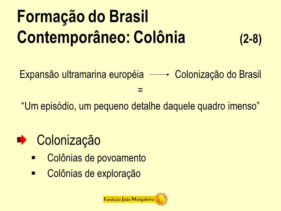 Formação do Brasil Contemporâneo: Colônia (2-8) Expansão ultramarina européia Colonização do Brasil = Um episódio, um pequeno detalhe daquele quadro i