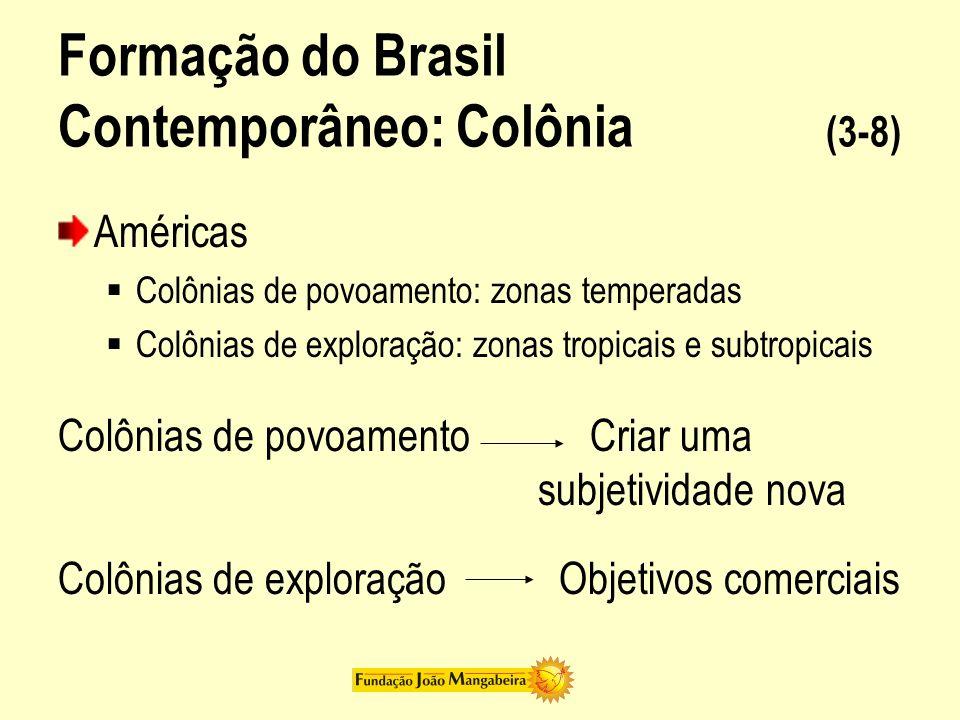Formação do Brasil Contemporâneo: Colônia (3-8) Américas Colônias de povoamento: zonas temperadas Colônias de exploração: zonas tropicais e subtropica