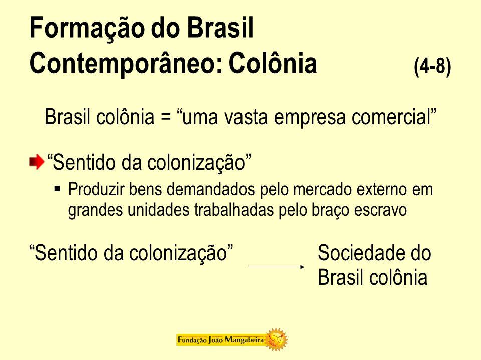 Formação do Brasil Contemporâneo: Colônia (4-8) Brasil colônia = uma vasta empresa comercial Sentido da colonização Produzir bens demandados pelo merc