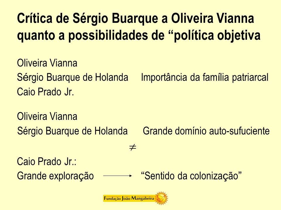 Crítica de Sérgio Buarque a Oliveira Vianna quanto a possibilidades de política objetiva Oliveira Vianna S é rgio Buarque de Holanda Importância da fa