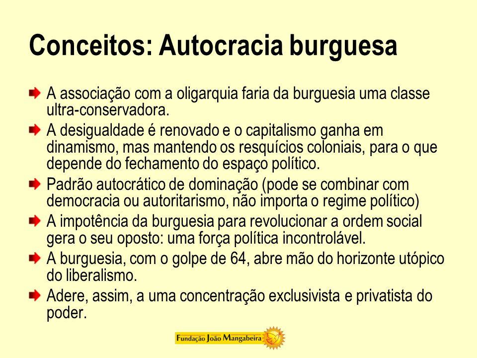 Conceitos: Autocracia burguesa A associação com a oligarquia faria da burguesia uma classe ultra-conservadora. A desigualdade é renovado e o capitalis
