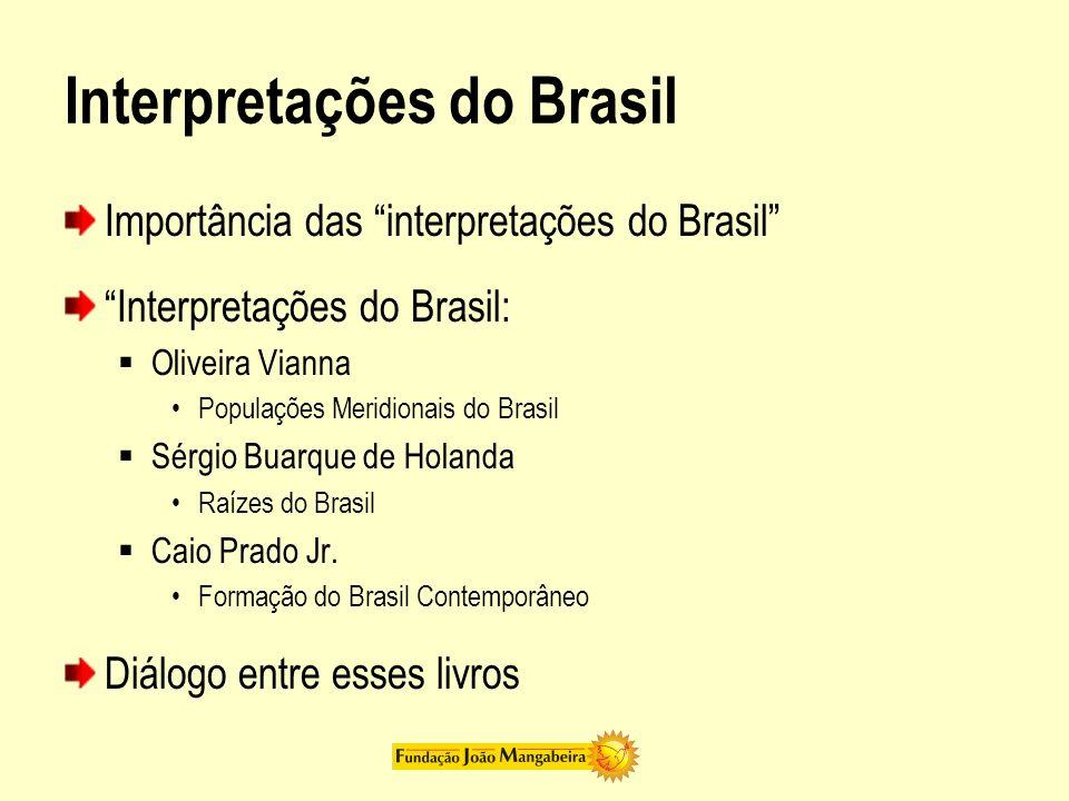 Interpretações do Brasil Importância das interpretações do Brasil Interpretações do Brasil: Oliveira Vianna Populações Meridionais do Brasil Sérgio Bu