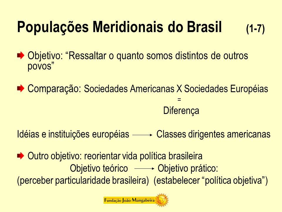 Populações Meridionais do Brasil (1-7) Objetivo: Ressaltar o quanto somos distintos de outros povos Comparação: Sociedades Americanas X Sociedades Eur