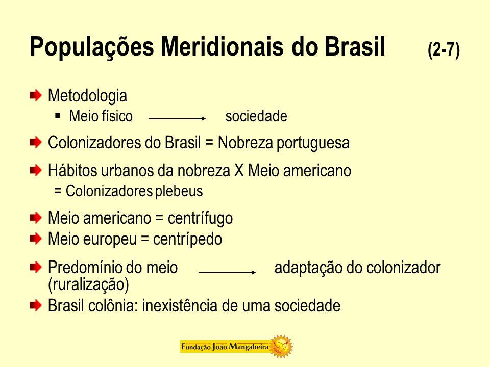 Populações Meridionais do Brasil (2-7) Metodologia Meio físicosociedade Colonizadores do Brasil = Nobreza portuguesa Hábitos urbanos da nobreza X Meio