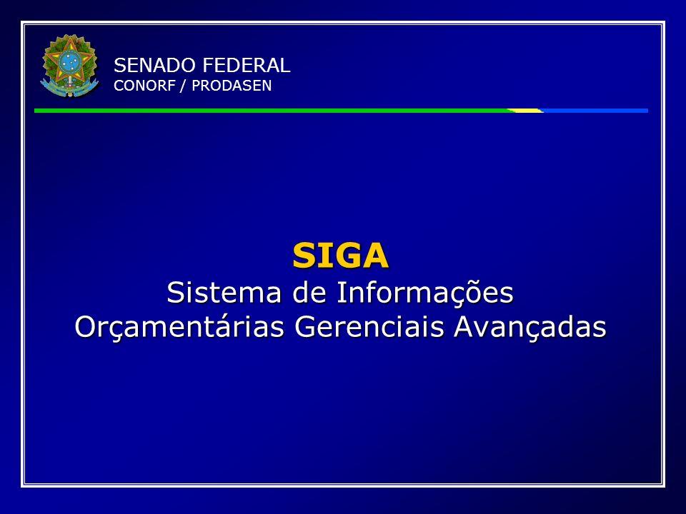 SENADO FEDERAL CONORF / PRODASEN SIGA Sistema de Informações Orçamentárias Gerenciais Avançadas