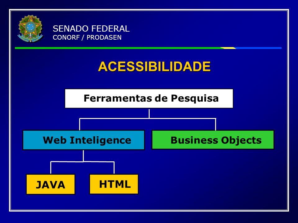ACESSIBILIDADE JAVA HTML Web InteligenceBusiness Objects Ferramentas de Pesquisa