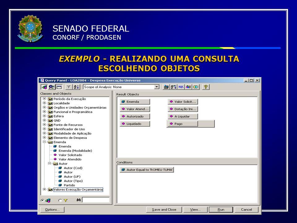 EXEMPLO - REALIZANDO UMA CONSULTA ESCOLHENDO OBJETOS SENADO FEDERAL CONORF / PRODASEN