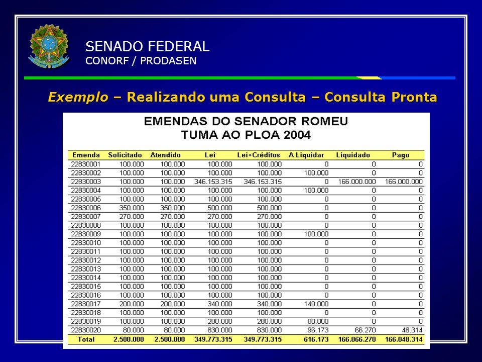 Exemplo – Realizando uma Consulta – Consulta Pronta SENADO FEDERAL CONORF / PRODASEN