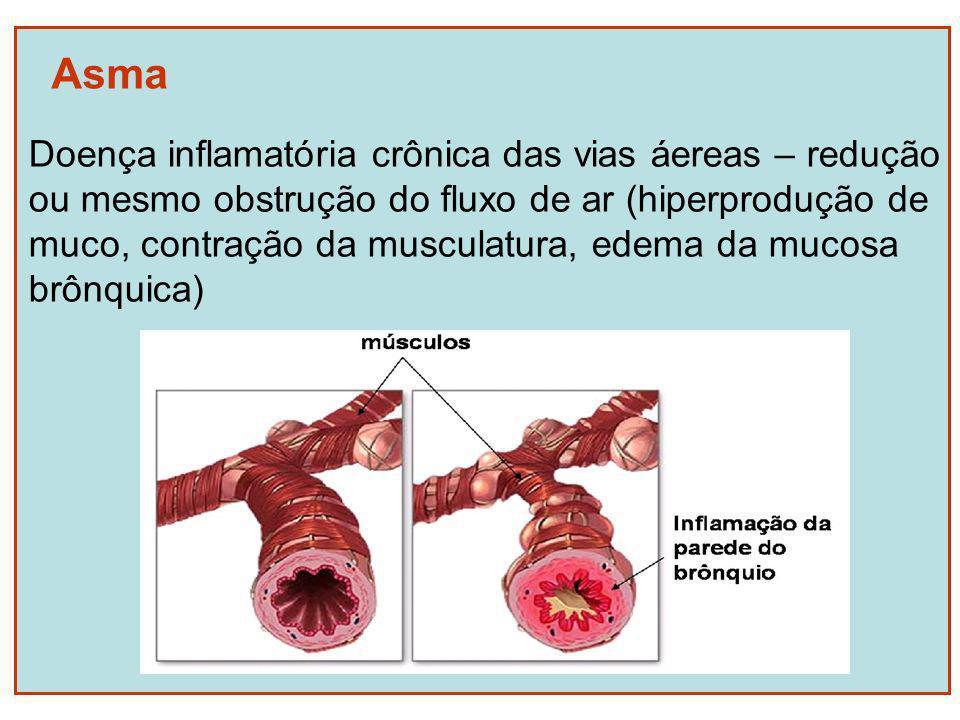 Asma Doença inflamatória crônica das vias áereas – redução ou mesmo obstrução do fluxo de ar (hiperprodução de muco, contração da musculatura, edema d