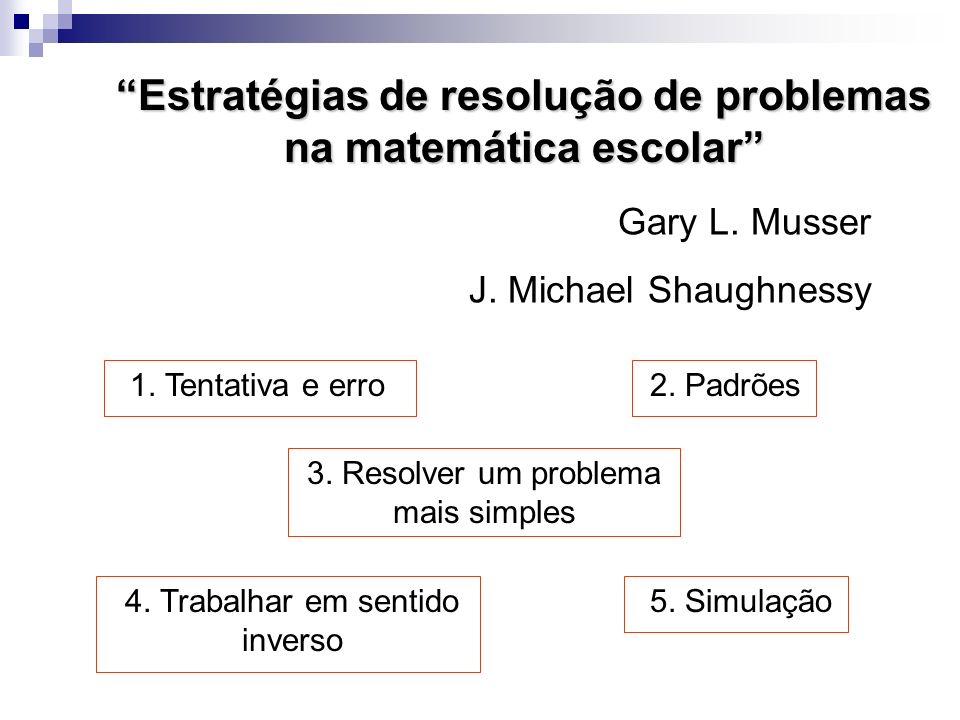 Estratégias de resolução de problemas na matemática escolar Gary L. Musser J. Michael Shaughnessy 1. Tentativa e erro2. Padrões 4. Trabalhar em sentid
