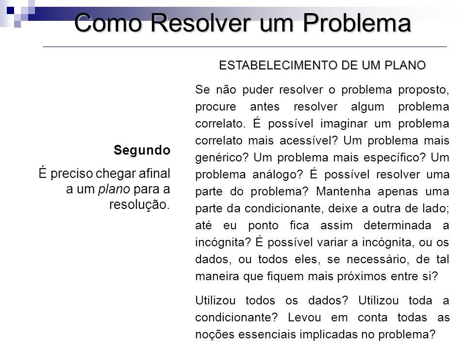Como Resolver um Problema ESTABELECIMENTO DE UM PLANO Se não puder resolver o problema proposto, procure antes resolver algum problema correlato. É po