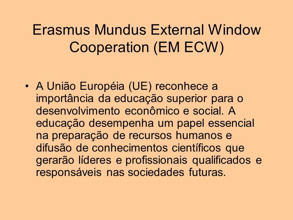 Erasmus Mundus External Window Cooperation (EM ECW) EM ECW é um programa de cooperação e mobilidade na área do ensino superior, lançado pelo Serviço de Cooperação da Comissão Européia EuropeAid e implementado pela Education and Culture Executive Agency (EACEA).