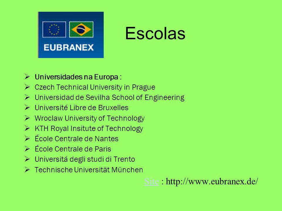 Escolas Universidades na Europa : Czech Technical University in Prague Universidad de Sevilha School of Engineering Université Libre de Bruxelles Wroc