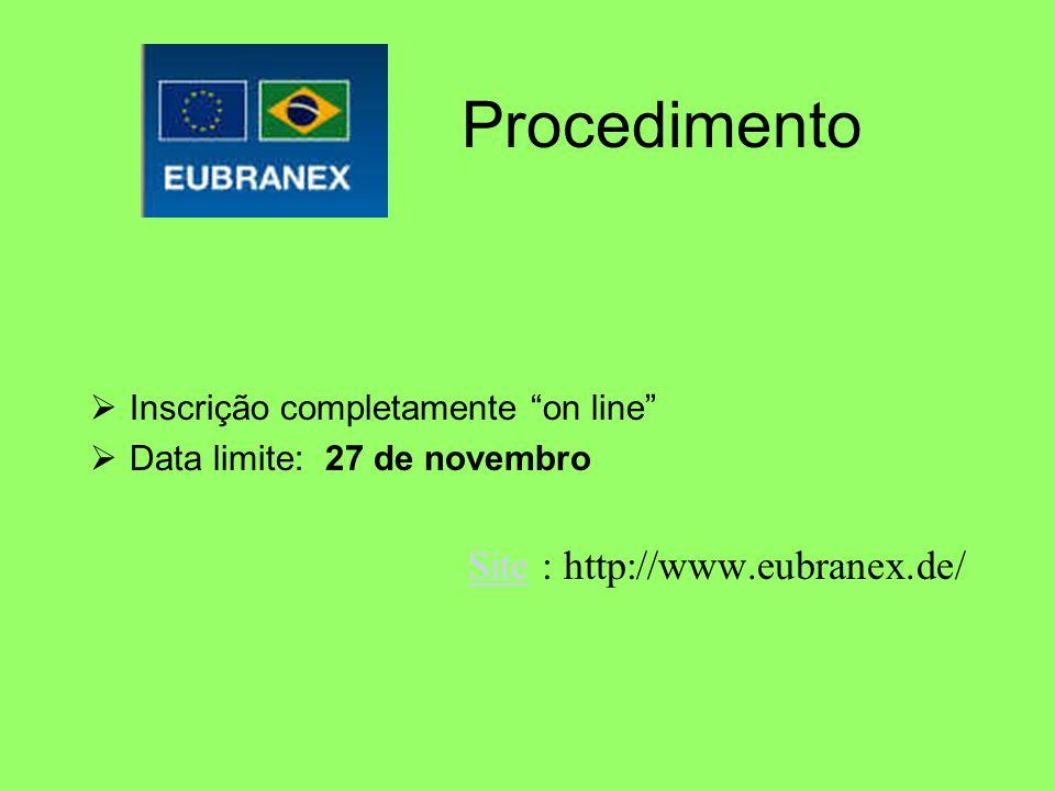 Procedimento Inscrição completamente on line Data limite: 27 de novembro SiteSite : http://www.eubranex.de/