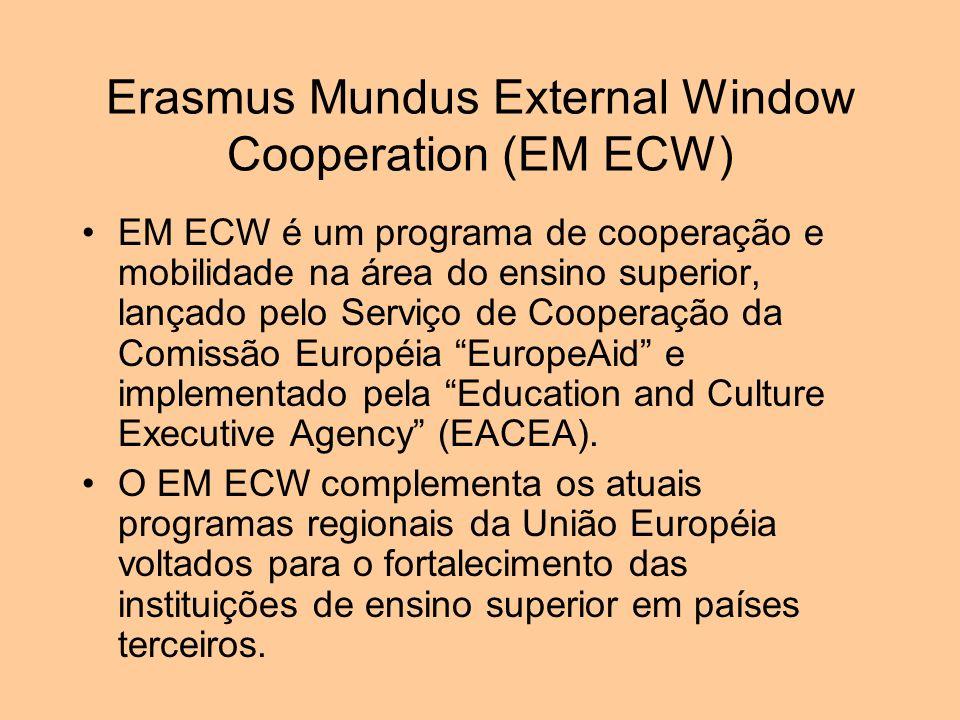Erasmus Mundus External Window Cooperation (EM ECW) O programa é organizado na forma de consórcios de universidades publicas brasileiras e universidades e escolas européias.