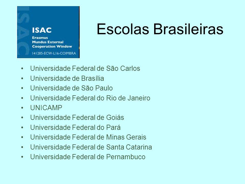 Bolsas 10 escolas brasileiras, 10 escolas européias Para a USP: Graduação : 4 bolsas, 6 meses cada Doutorado 2 bolsas, 30 meses cada 6 bolsas, 9 meses cada Pós-Doc: 1 bolsa, 3 meses Docentes: 2 bolsas, 1 mês cada