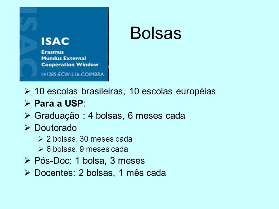 Bolsas 10 escolas brasileiras, 10 escolas européias Para a USP: Graduação : 4 bolsas, 6 meses cada Doutorado 2 bolsas, 30 meses cada 6 bolsas, 9 meses