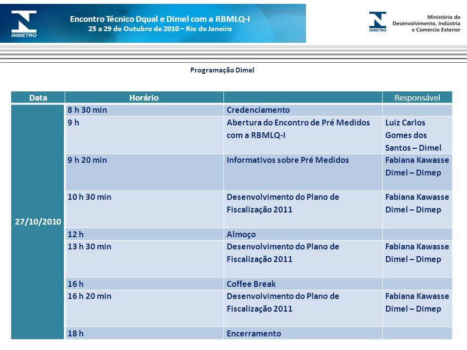 Marca do evento DataHorárioResponsável 27/10/2010 8 h 30 minCredenciamento 9 h Abertura do Encontro de Pré Medidos com a RBMLQ-I Luiz Carlos Gomes dos