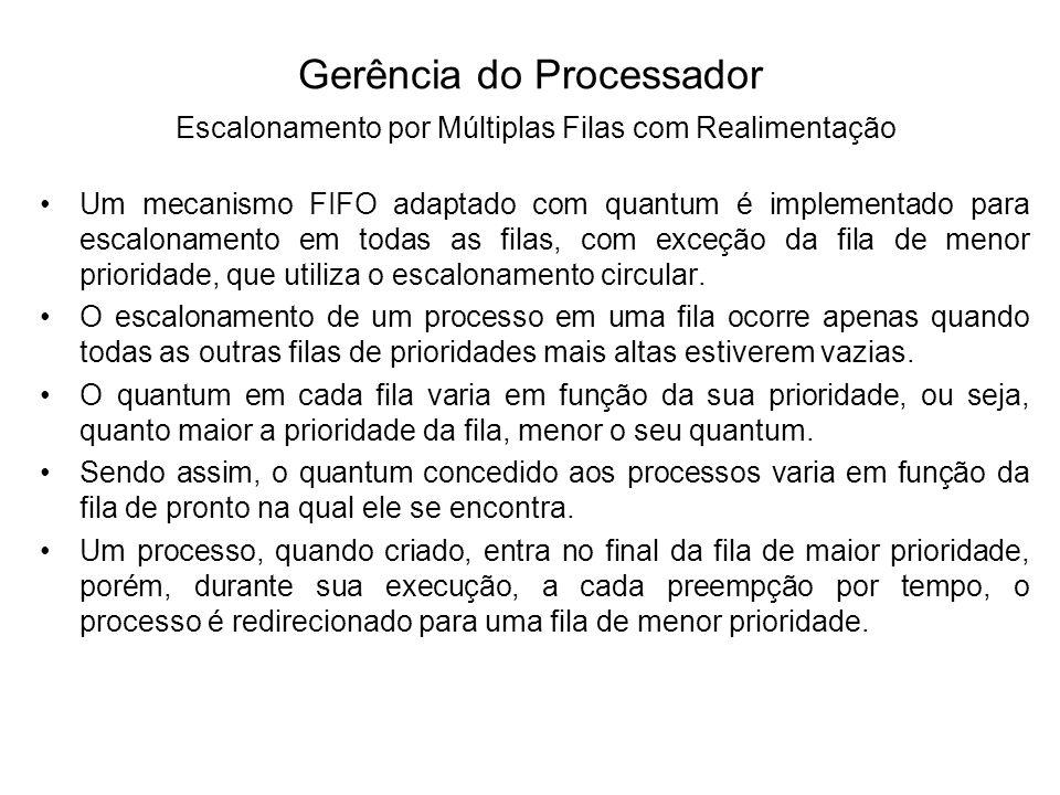 O escalonamento por múltiplas filas com realimentação (multilevel feedback queues scheduling) os processos podem trocar de filas durante seu processamento.