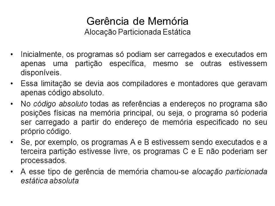 Gerência de Memória Alocação Particionada Estática Absoluta Partição 1 SO Memória Principal Partição 2 Partição 3 11 KB 5 KB 2 KB D 6 KB A 2 KB B 4 KB C 1 KB E 3 KB