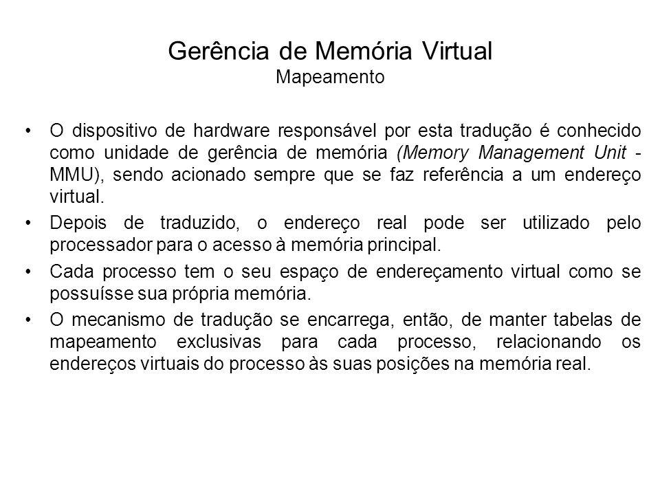 Gerência de Memória Virtual Mapeamento