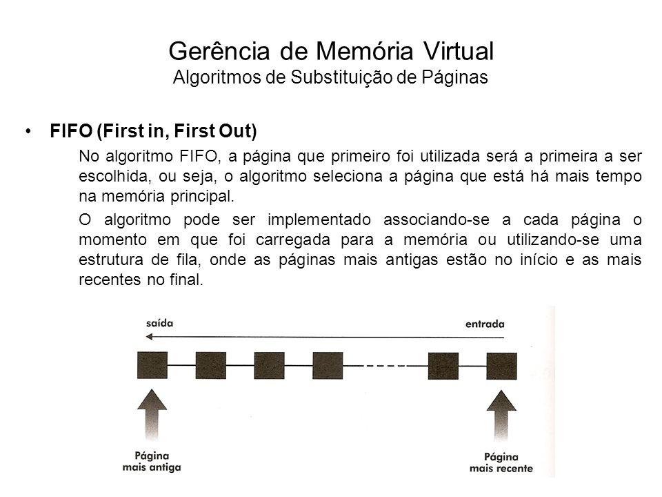 FIFO (continuação) Parece razoável pensar que uma página que esteja há mais tempo na memória seja justamente aquela que deva ser selecionada, porém isto nem sempre é verdadeiro.