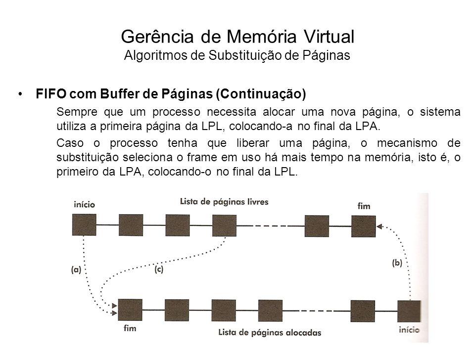 FIFO com Buffer de Páginas (Continuação) É importante notar que a página selecionada e que entrou na LPL continua disponível na memória principal por um determinado intervalo de tempo.