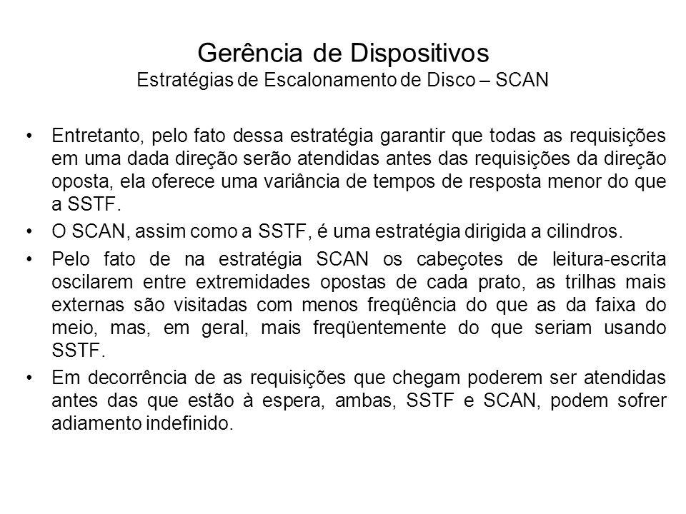 Gerência de Dispositivos Estratégias de Escalonamento de Disco – C-SCAN C-SCAN (SCAN Circular) Seqüência: 33, 72, 47, 8, 99, 74, 52, 75 Posição inicial do cabeçote do disco: 63