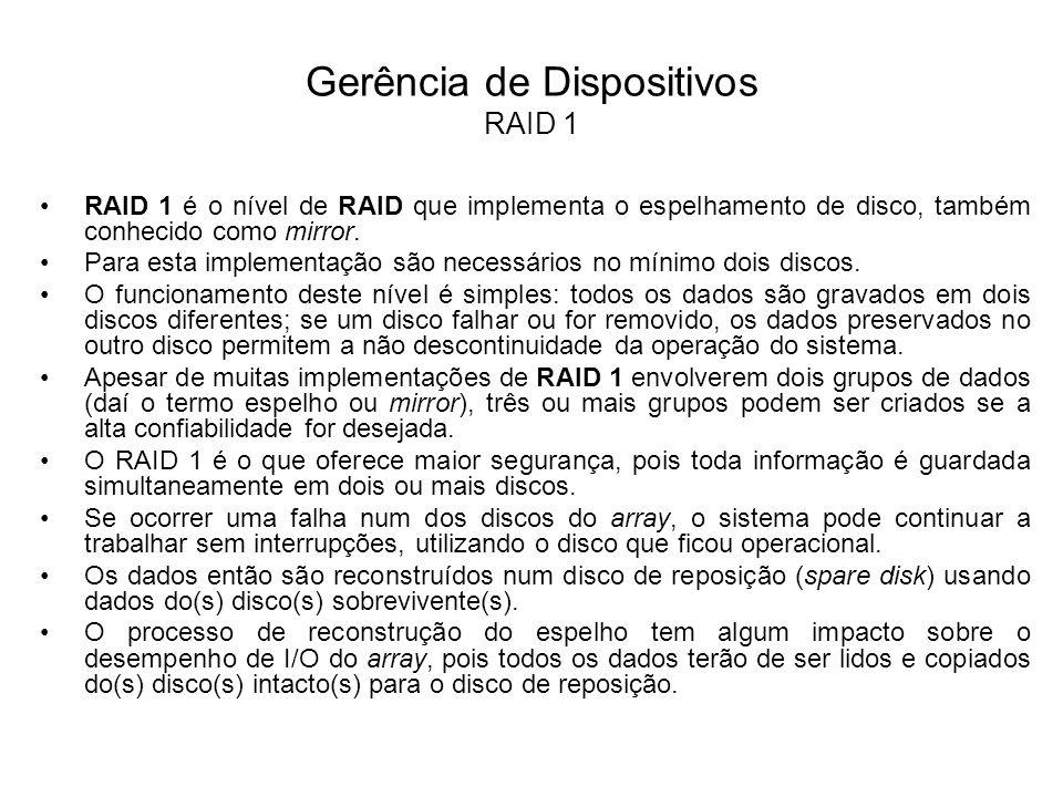 Gerência de Dispositivos RAID 1 Com o RAID 1 consegue-se duplicar o desempenho na leitura de informação, pois as operações de leitura podem ser repartidas pelos dois discos.