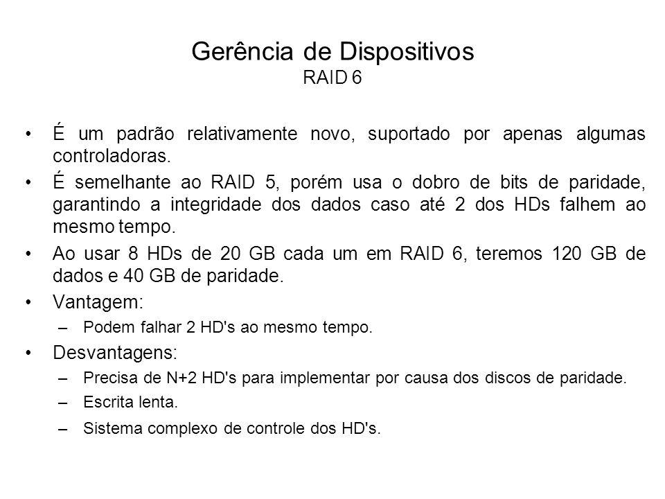 Gerência de Dispositivos RAID 0 + 1 O RAID 0 + 1 é uma combinação dos níveis 0 (Striping) e 1 (Mirroring), onde os dados são divididos entre os discos para melhorar o rendimento, mas também utilizam outros discos para duplicar as informações.