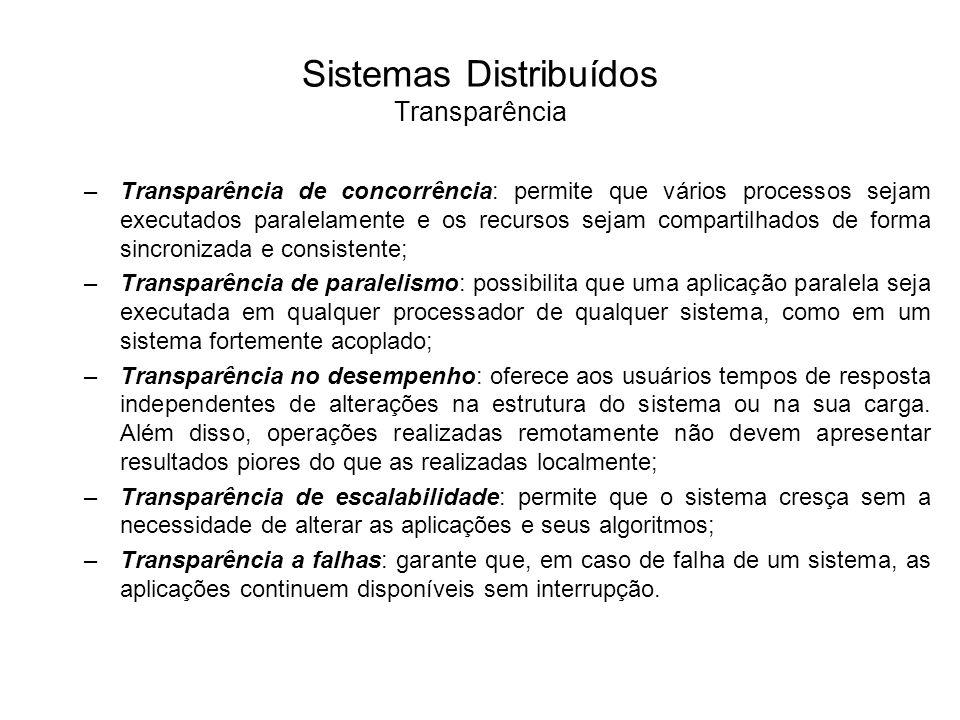 Sistemas Distribuídos Transparência Em um sistema distribuído, quando um usuário se conecta ao sistema não há necessidade de especificar o nome do componente a que estará conectado.