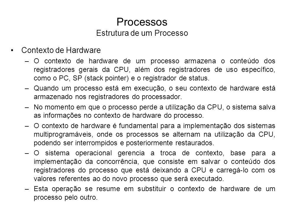 Processos Troca de Contexto Processo AProcesso B Carrega o conteúdo dos registradores do Processo B Salva o conteúdo dos registradores do Processo A Salva o conteúdo dos registradores do Processo B Carrega o conteúdo dos registradores do Processo A Sistema Operacional