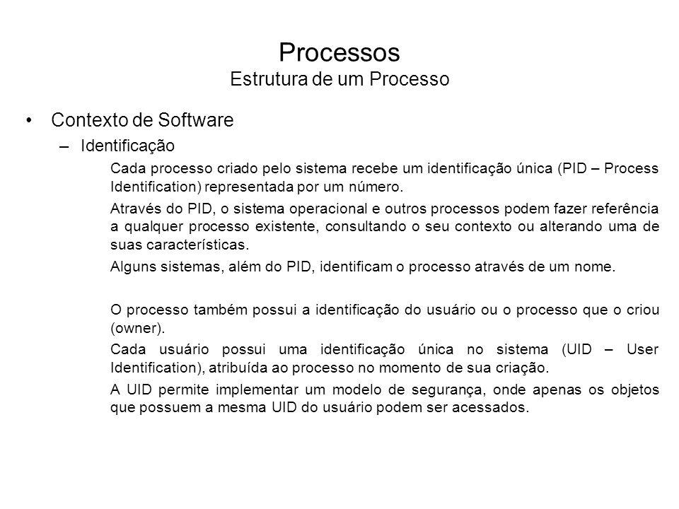 Processos Estrutura de um Processo Contexto de Software –Quotas As quotas são os limites de cada recurso do sistema que um processo pode alocar.