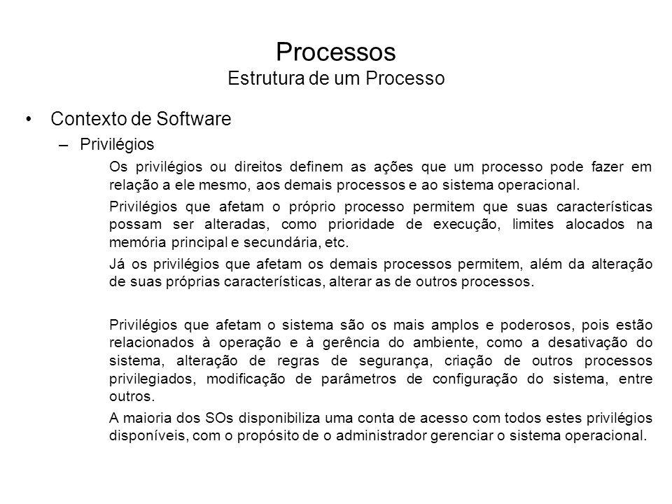 Processos Estrutura de um Processo Espaço de Endereçamento –O espaço de endereçamento é a área de memória pertencente ao processo onde instruções e dados do programa são armazenados para execução.