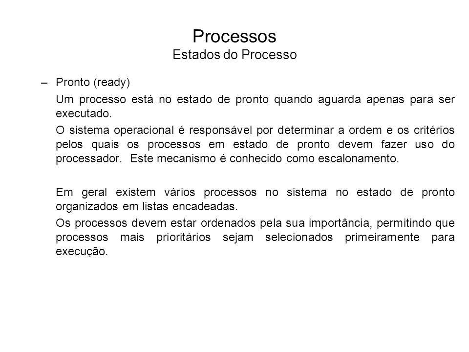 –Espera (wait) Um processo no estado de espera aguarda por algum evento externo ou por algum recurso para prosseguir seu processamento.