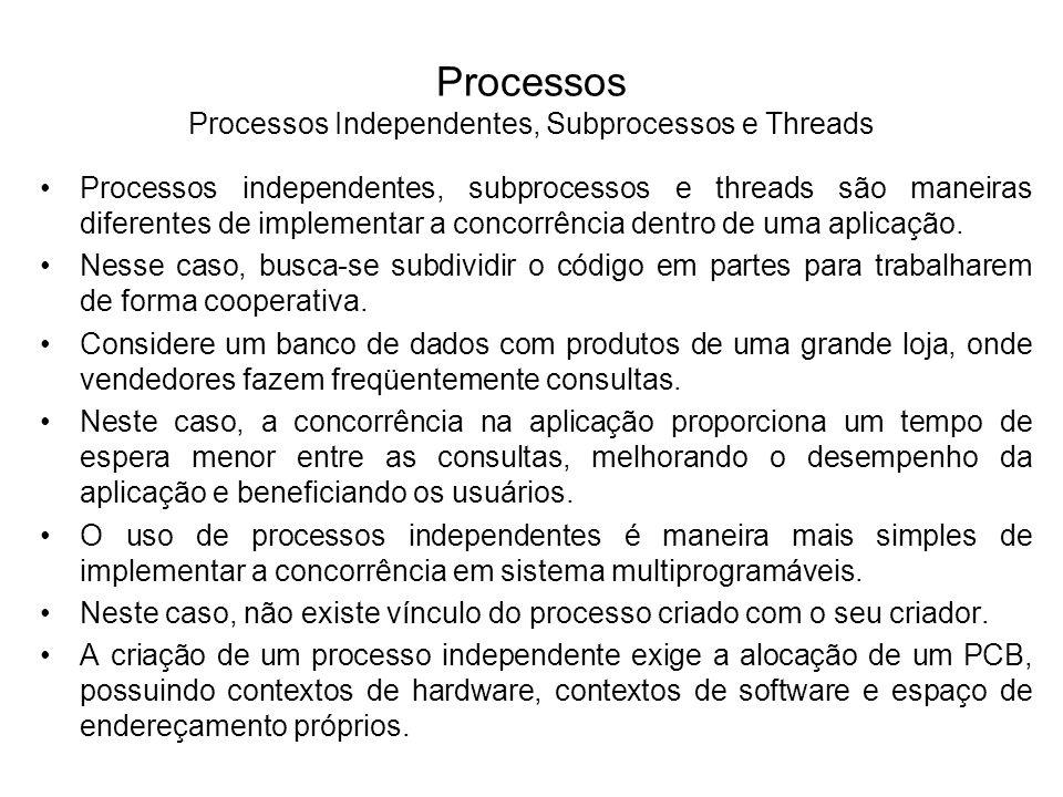 Processo E Processo A Processo D Processo B Processo C Subprocessos Processos Independentes A seguir temos um exemplo de processos independentes