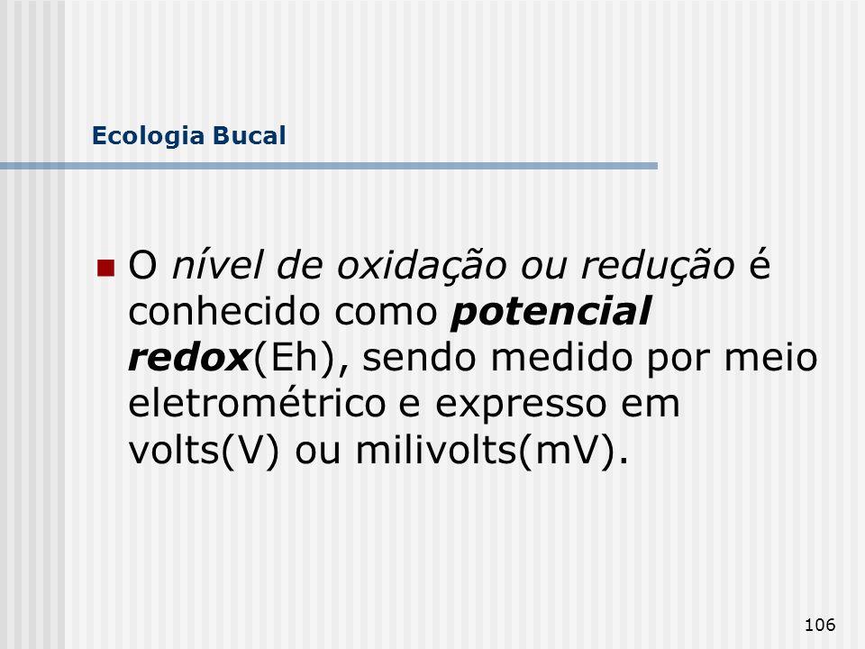 106 Ecologia Bucal O nível de oxidação ou redução é conhecido como potencial redox(Eh), sendo medido por meio eletrométrico e expresso em volts(V) ou