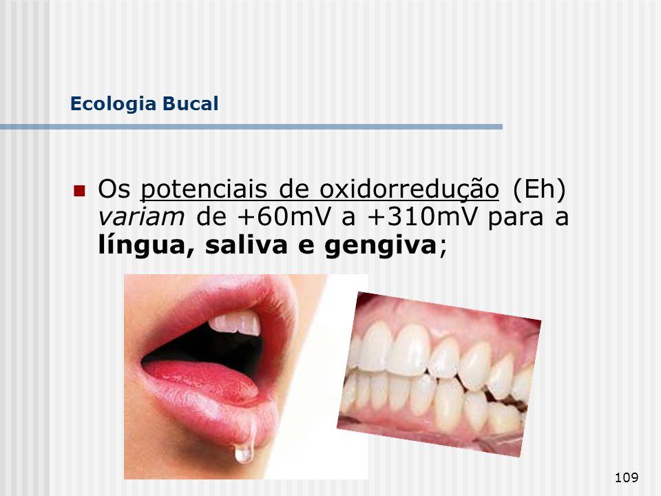 109 Ecologia Bucal Os potenciais de oxidorredução (Eh) variam de +60mV a +310mV para a língua, saliva e gengiva;