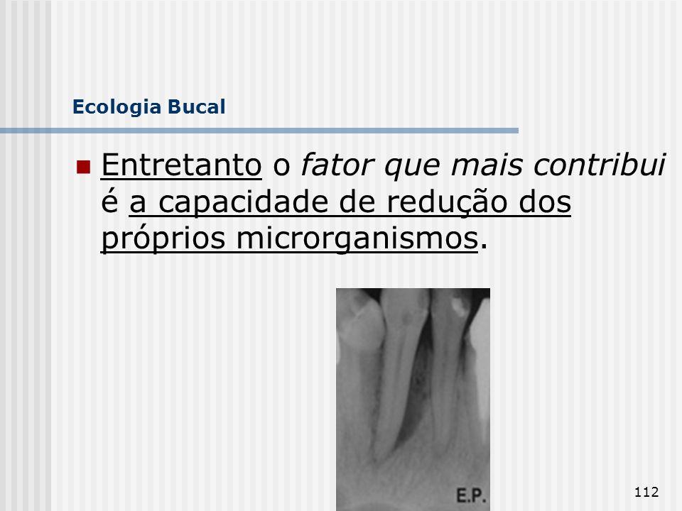 112 Ecologia Bucal Entretanto o fator que mais contribui é a capacidade de redução dos próprios microrganismos.