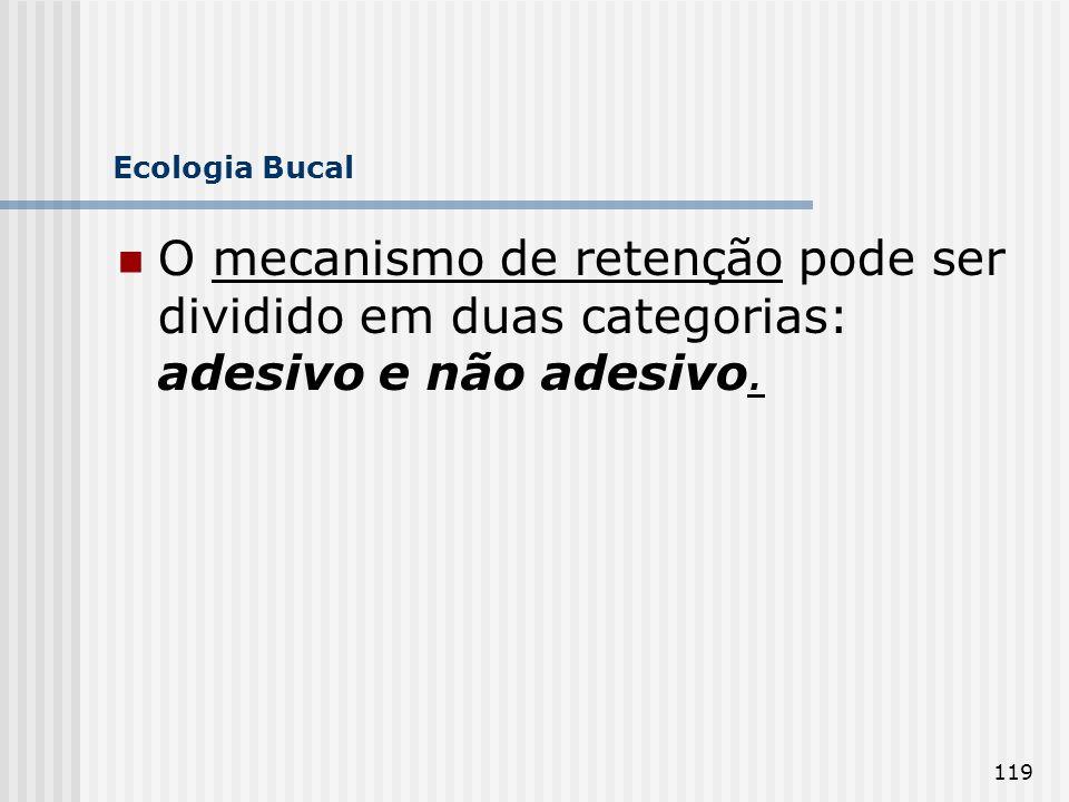 119 Ecologia Bucal O mecanismo de retenção pode ser dividido em duas categorias: adesivo e não adesivo.