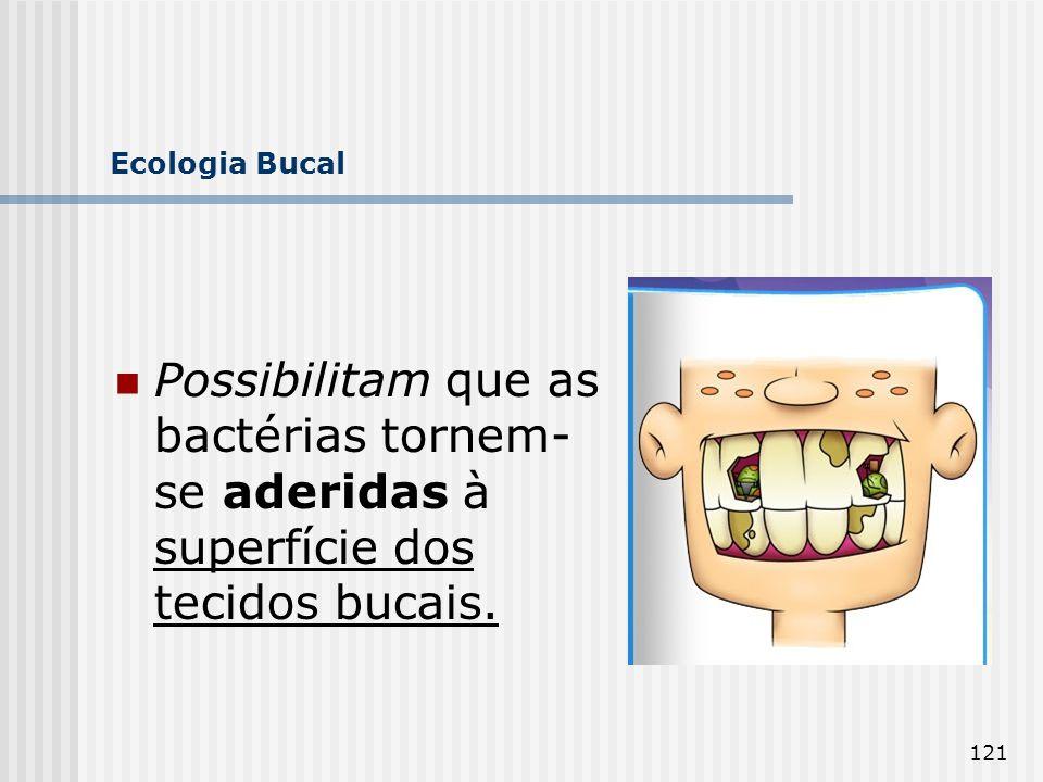 121 Ecologia Bucal Possibilitam que as bactérias tornem- se aderidas à superfície dos tecidos bucais.