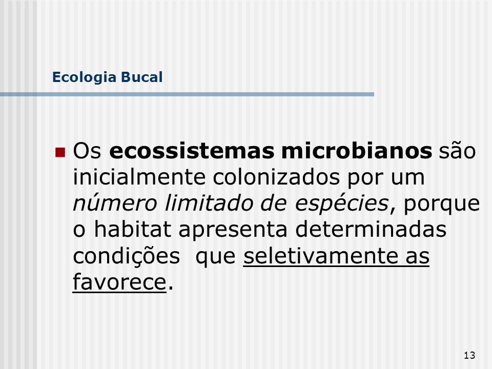 13 Ecologia Bucal Os ecossistemas microbianos são inicialmente colonizados por um número limitado de espécies, porque o habitat apresenta determinadas