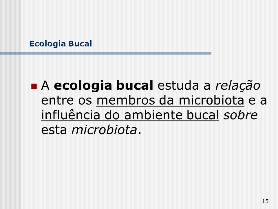 15 Ecologia Bucal A ecologia bucal estuda a relação entre os membros da microbiota e a influência do ambiente bucal sobre esta microbiota.